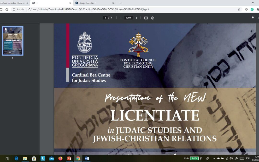 Pontifical Gregorian University´s new Licentiate in Judaic Studies and Jewish-Christian Relations
